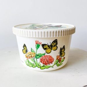 Vintage Plastic Floral Butterfly Plastic Container